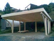 Doppel-Carport mit Rundbogen und 90° Holzblende