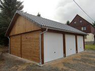 Satteldach-Carport Chemnitz als Garage mit Schwingtoren für 3 Pkw