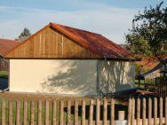 Satteldach-Garage Chemnitz als Ständerkonstruktion mit verputzten Wänden